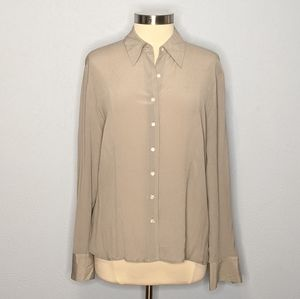 Talbots Size 16 Gray Silk Long Sleeve Blouse